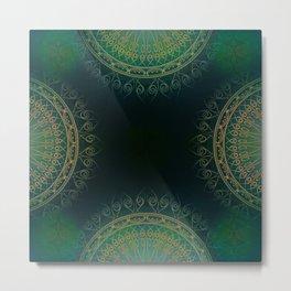 """Dark Clover Green & Gold Mandala Deluxe"" Metal Print"