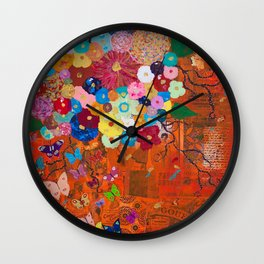 Tangerine Garden Wall Clock