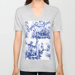 Blue Chinoiserie Toile Unisex V-Neck