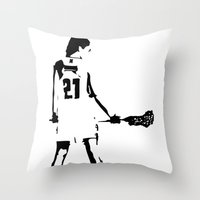 lacrosse Throw Pillows featuring Lacrosse girl by laxwear