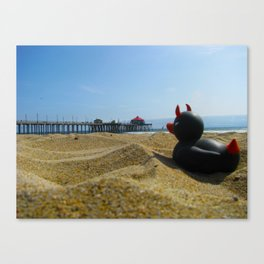 Devil Ducky goes to the beach - California Canvas Print