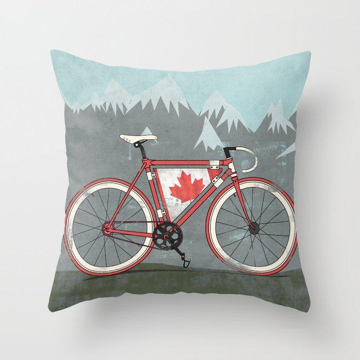 Love Bike, Love Canada Throw Pillow