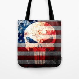Punisher Themed Skull and American Flag on Distressed Metal Tote Bag