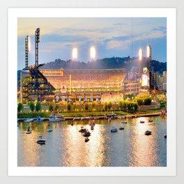 Pittsburgh Baseball Park Night Skyline River View Art Print