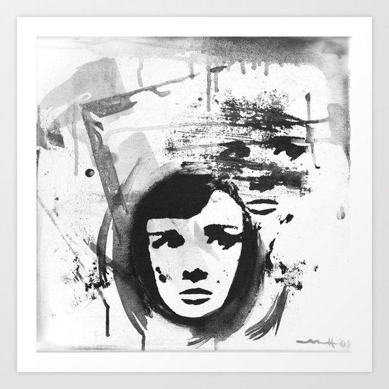 Audrey on a stencil Art Print