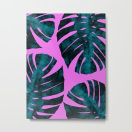 Tropical leaves on purple background Metal Print