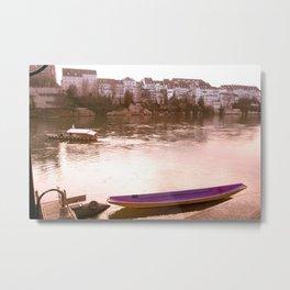 Rhine's Magenta Canoe Metal Print