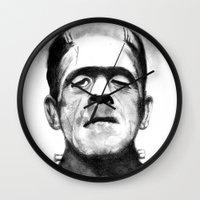 frankenstein Wall Clocks featuring Frankenstein by Zombie Rust