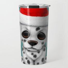 Christmas Dalmatian Puppy Dog Wearing a Santa Hat Travel Mug