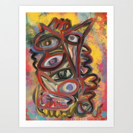 King Creature With Multiple Eyes Graffiti Expressionism Art Art Print