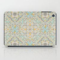 bedding iPad Cases featuring Gypsy Floral in Soft Neutrals, Grey & Yellow on Sage by micklyn