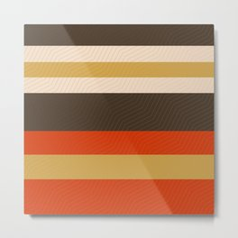 Retro Zigzag Geometric Pattern Metal Print