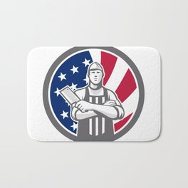 American Butcher Front USA Flag Icon Bath Mat