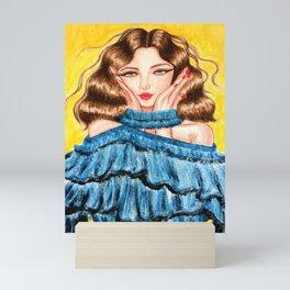 Curly Hair Girl In Ruffles Dress Mini Art Print