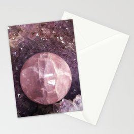 Amethyst and Pink Quartz Gemstone Stationery Cards