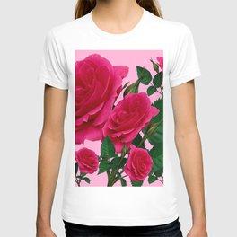 DECORATIVE RED GARDEN ROSES PINK ART T-shirt