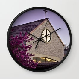 Lavender Sunset on Church Building Wall Clock