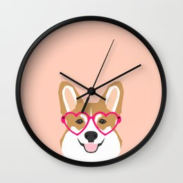 Corgi Love - Valentines heart shaped glasses on funny dog for dog lovers pet gifts customizable dog  Wall Clock
