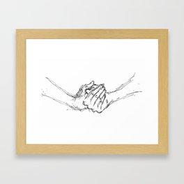 clasped hands Framed Art Print