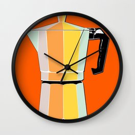 Retro Coffee Pot - Vintage Spring Colors on Burnished Background Wall Clock