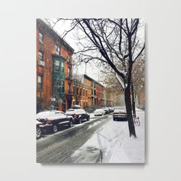 Brooklyn New York City Snow Showers Metal Print