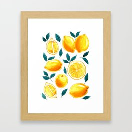 Golden lemons pattern in watercolor Framed Art Print