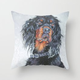 Gordon Setter dog art in snow from an original painting by L.A.Shepard Throw Pillow