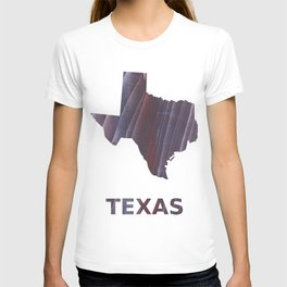Texas map outline Dark purple striped wash drawing T-shirt