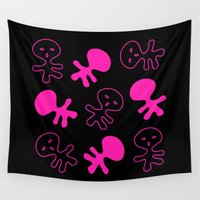 aliens Wall Tapestries featuring Aliens-Pink by ts55