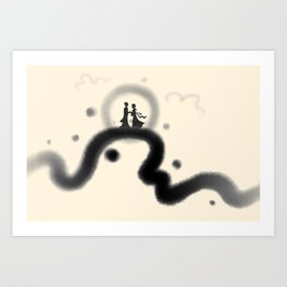Chinese Valentine's Day ink painting Art Print