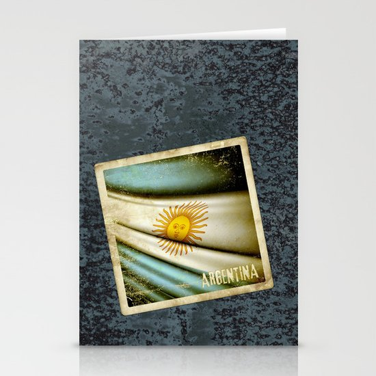 Grunge sticker of Argentina flag Stationery Cards