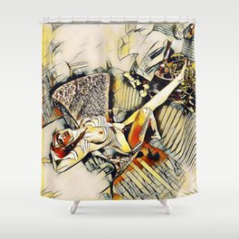 4406s-JG Sensual Nude in Chair By Window Erotic Kandinsky Style Art Shower Curtain