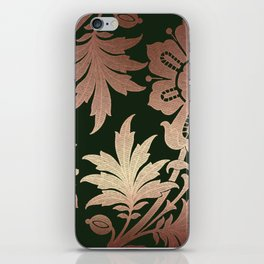 Black and Rose Gold  Floral iPhone Skin