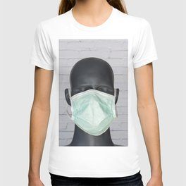 Head image of mannequin wearing a surgical mask T-shirt
