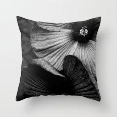 Dramatic Black and White Hibiscus Flowers Macro Throw Pillow