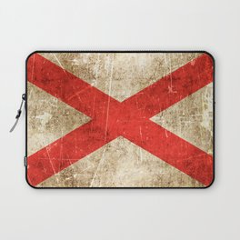 Vintage Aged and Scratched Alabama Flag Laptop Sleeve