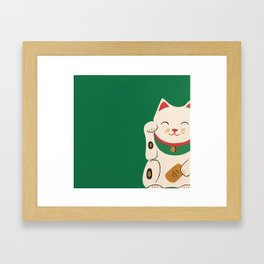 Green Lucky Cat Maneki Neko Framed Art Print
