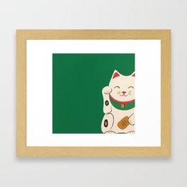 Green Lucky Cat Maneki Neko Framed Art Print