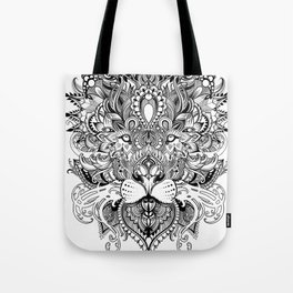 Black And White Geometric pattern mandala lion face Tote Bag