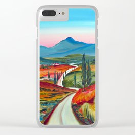 TUSCANY COUNTRY ROAD Clear iPhone Case