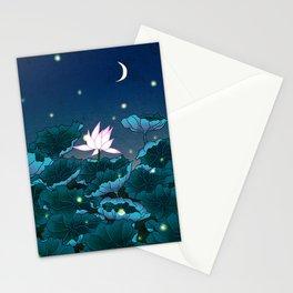 Minhwa: Lotus Pond at Night A Type (Korean traditional/folk art) Stationery Cards