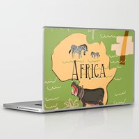 travel poster Laptop & iPad Skins featuring Experience Africa Vintage Travel Poster by Nick's Emporium Gallery