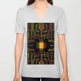 microchip nanotechnology on black background Unisex V-Neck