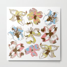 Silk Screen Floral Metal Print