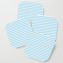 Oktoberfest Bavarian Blue and White Large Mattress Ticking Stripes Coaster