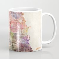 chicago map Mugs featuring Chicago map by MapMapMaps.Watercolors