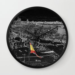 Madrid in black and white from cibeles Wall Clock