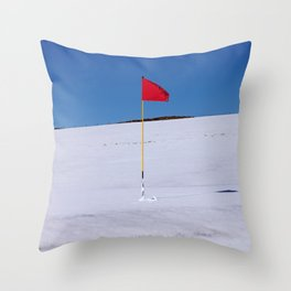 Red flag on Stromness golf course on a snowy April day. Throw Pillow
