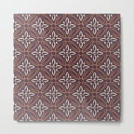 Modern Brown Hipster Victorian Floral Swank Damask Chic Design Metal Print
