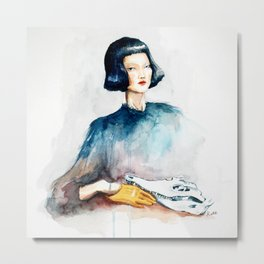 Girl with Crocodile Skull Metal Print